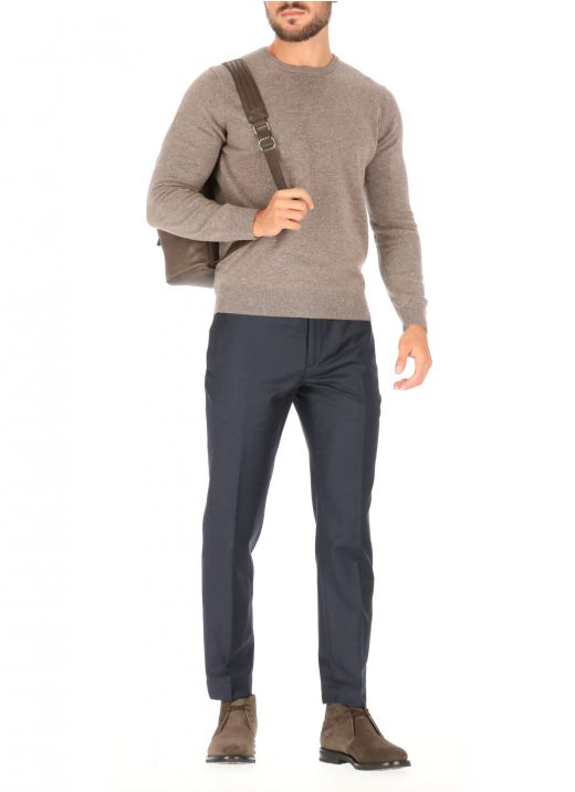 Wool trousers with micro pattern