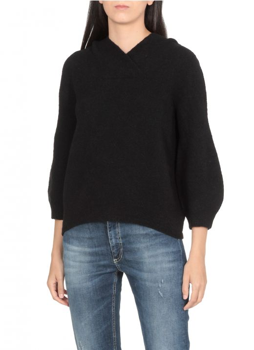 Wool and cashmere hooded sweater