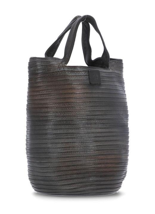 Plebbed leather bucket pack