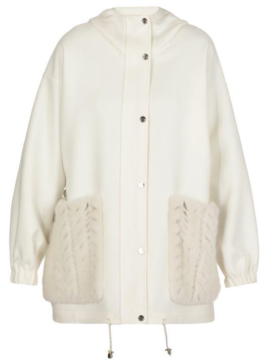 L Piana cashmere parka with tricot mink pockets
