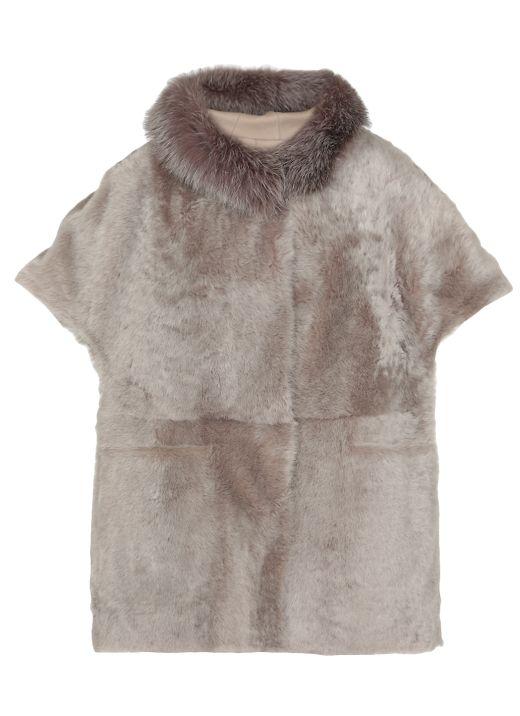 Shearling lamb cape with fox fur