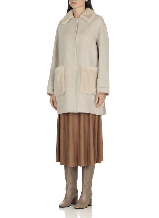 L Piana Cashmere coat with mink