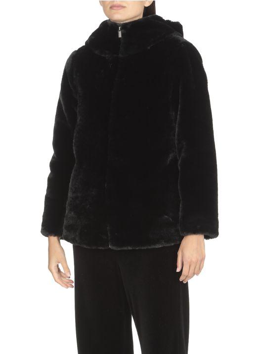 Jersey coat with hood