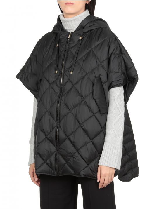 Quilted cape with hood