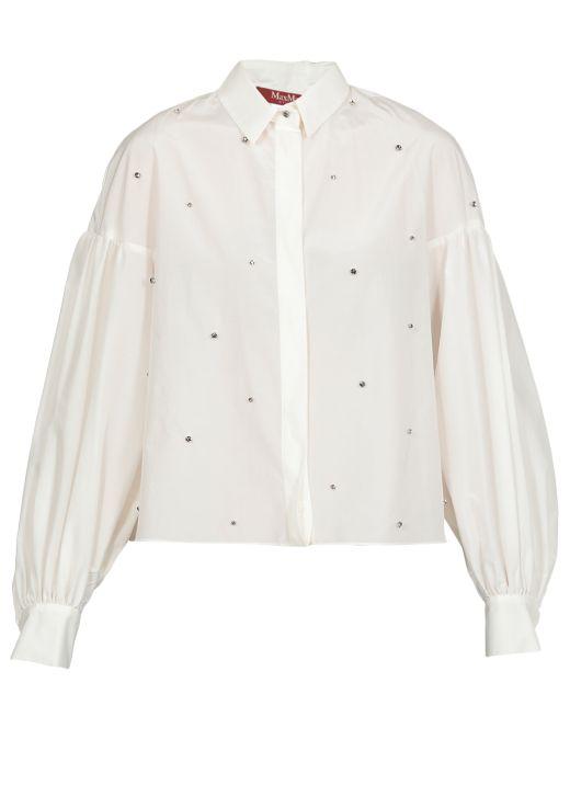 Cotton canvas and silk shirt
