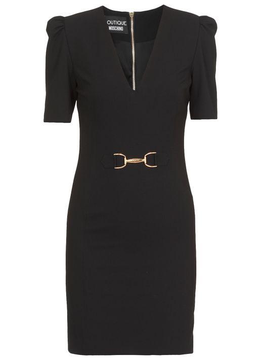 Midi dress with puffed sleeves