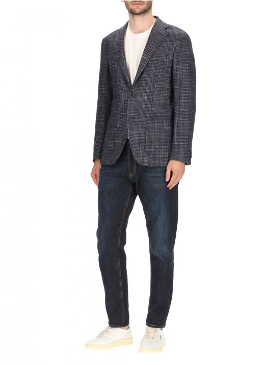 Wool and silk blend one-breasted blazer