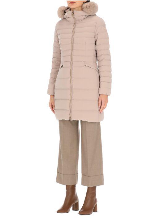 Slim down jacket with fur