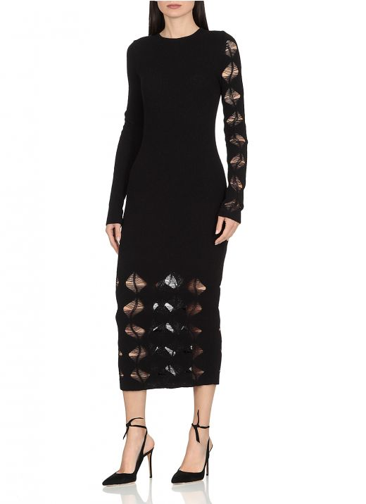Knitted dress with ripped details