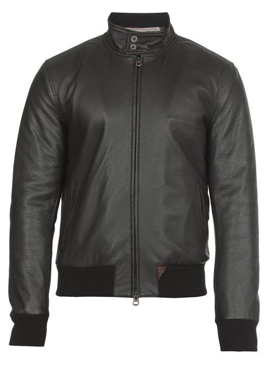 Padded leather jacket