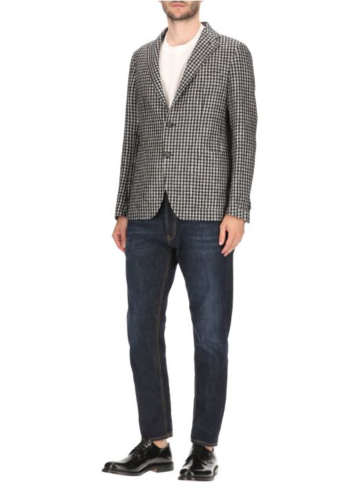 Houndstooth one-breasted blazer