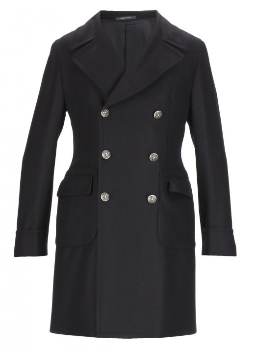Double-breasted coat with embossed buttons