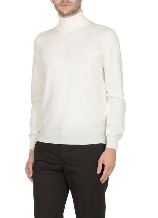 Virgin wool high neck sweater