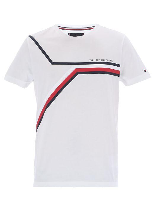 Split chest stripes T-shirt