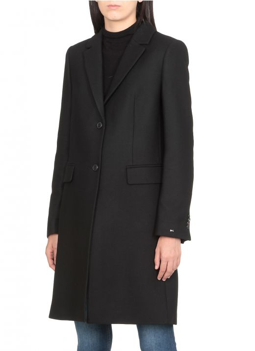 Wool one-breasted coat