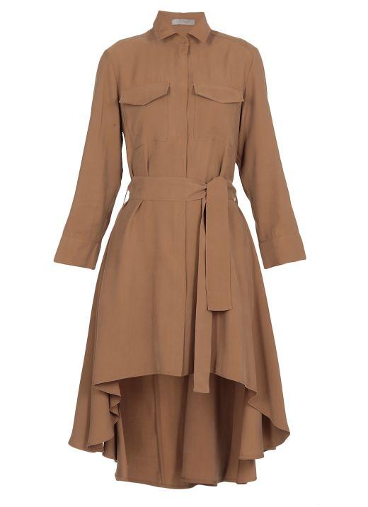 Cupro asymmetric chemisier dress