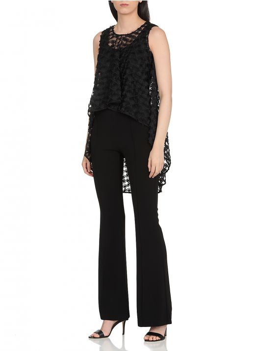 Jumpsuit with tulle embroidered top