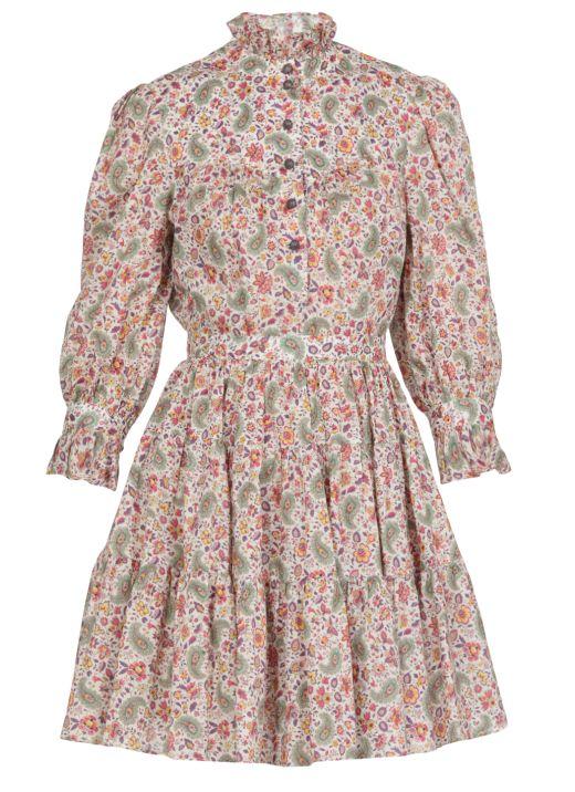 Cotton short dress with floral Paisley print