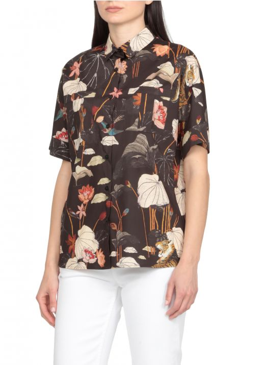 Short sleeves shirt with tiger and water lilies print