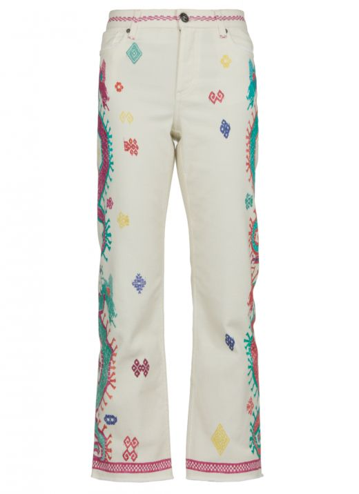 Jeans with naif geometric pattern