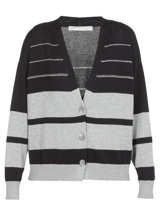 Cotton striped cardigan