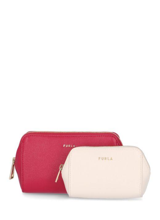 Saffiano leather beauty case set