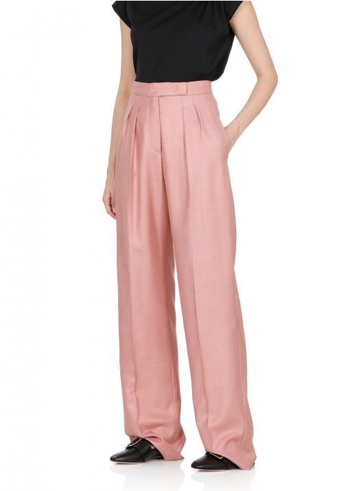 Kamel and silk twill trousers
