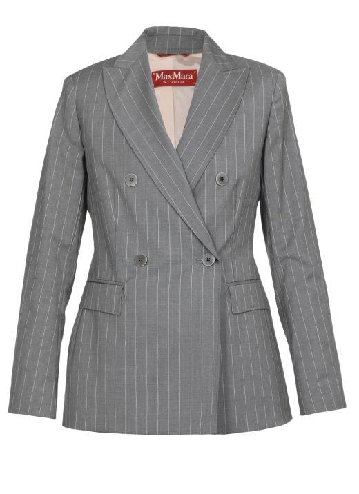 Double breasted virgin wool coat