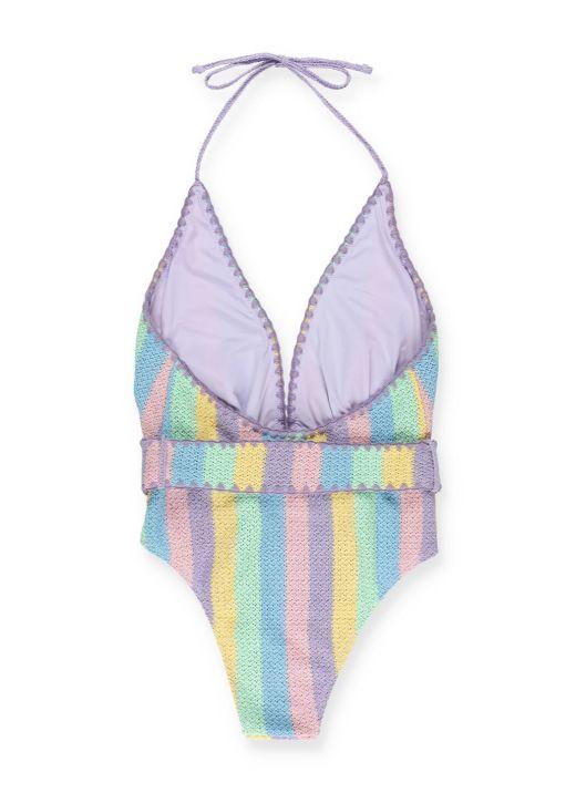 Pastel crochet one-piece swimsuit