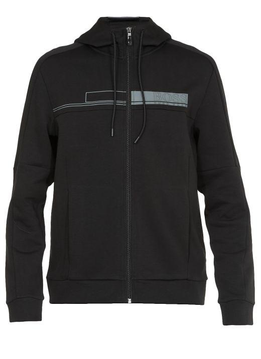 Cotton blend stretch hoodie