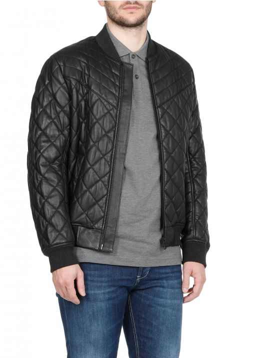 Quilted leather leather jacket