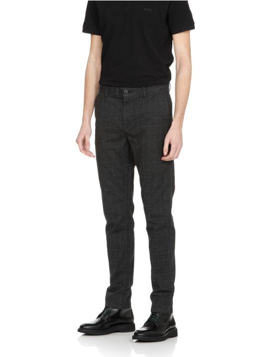 Cotton blend glen check trousers