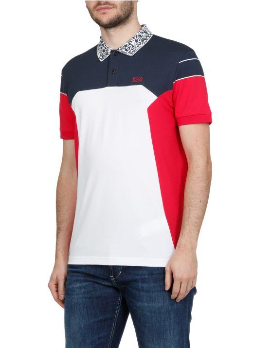 Cotton blend color block polo shirt